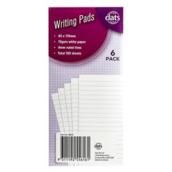 Pad Paper Writing 80x170mm 6pk Total 180sh 70gsm Ruled