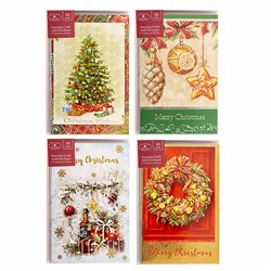 Cards Xmas Box 10 115x177mm Textured Foil Traditional