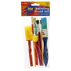 Brush Paint Set 9pc Foam and Bristle