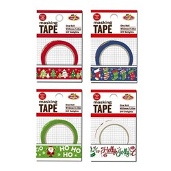 Tape Masking Printed Xmas 15mmx10M 4 Assorted