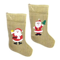 Stocking Xmas Jute w Santa Design