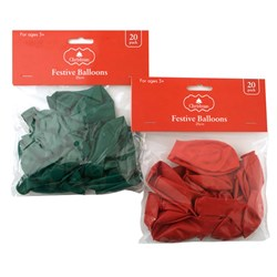 Balloons 250mm Xmas 20pk Plain Col 2 Asstd Red Green
