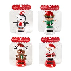 Decoration Solar Dancing Xmas Character 4 Asstd