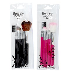 Brush Set Cosmetic Makeup with PVC Case Pk5 2 Asstd Cols