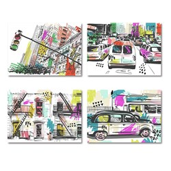 Canvas Printed 50x70cm 4 Asstd Cities W16.1 FSC-100%