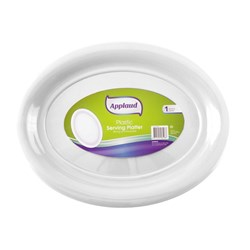 Platter Serving Oval Plastic White Large