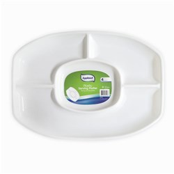 Platter Serving Oval Large 4 Sections Plastic White