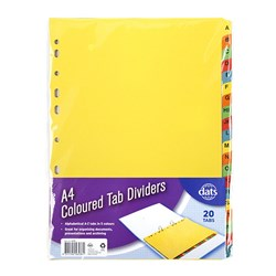 Tab Dividers Paperboard A4 Alphabetical A to Z