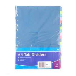 Tab Dividers Paperboard A4 20 Tabs