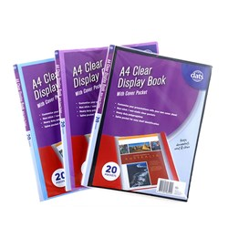 Clear Book PP Cover w Insert A4 20 Pockets Asstd Cols