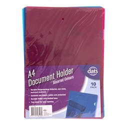 Document File Holder PP A4 10pk Mixed Cols