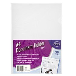Document File Holder PP A4 10pk Clear