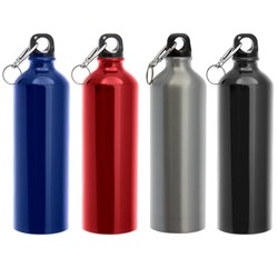 Drink Bottle 750ml Aluminium w/ Carabiner 4 Asstd Colours