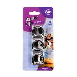 Clip Magnetic 30mm 3pk Silver