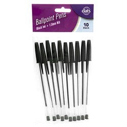 Pen Ballpoint 10pk Black Ink
