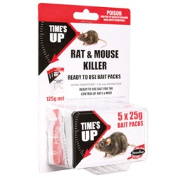 Times Up Rat and Mouse Killer Bait Throw Pack 5 x 125g