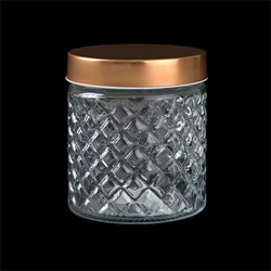 Glass Jar Diamond Design w Rose Gold Lid 780ml 11x13cm