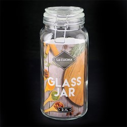 Glass Clip Jar Square 2100ml