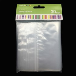 Craft Plastic Bags Resealable 125x195mm Pk30