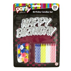 Candles Birthday Pk24 w Holders and Happy Bday Sign