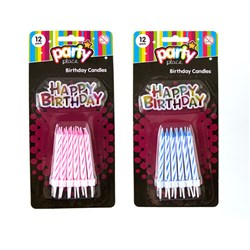 Candles Birthday Pk12 w Happy Bday Sign 2 Asstd Cols
