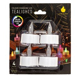 Battery Operated Tea Lights Pk4 Colour Changing LED