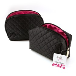 Cosmetic Bag Black Diamond Quilt Des 2 Asstd Styles 17cm