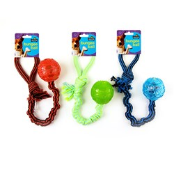 Dog Toy Bungee Ball L41.5cm 3 Asstd Colours