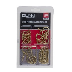 Assorted Cup Hooks Gold 50pk