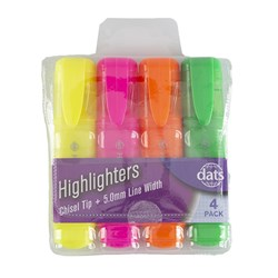 Highlighter 4pk Fluro Mixed Cols Chisel Tip in PVC Wallet