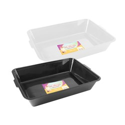 Cat Litter Tray 2 Colours White or Black Asstd