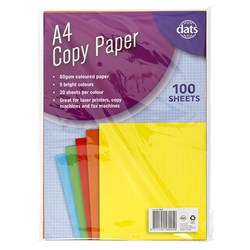 Paper Copy A4 5 Bright Cols 80gsm 100pk