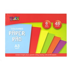 Pad Paper Colour 6 Bright Cols A3 48s 80gsm