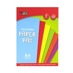 Pad Paper Colour 6 Bright Cols A4 120s 80gsm
