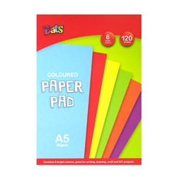 Pad Paper Colour 6 Bright Cols A5 120s 80gsm