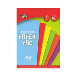 Pad Paper Colour 6 Bright Cols A6 120s 80gsm
