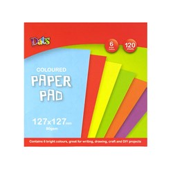 Pad Paper Colour 6 Bright Cols Sq 120s 80gsm