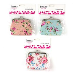 Coin Purse w Clasp Printed Floral 3 Asstd Designs
