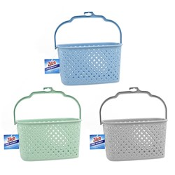 Peg Basket Woven Plastic w Handle 3 Asstd Cols