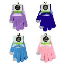 Gloves Teens Fashion Stripes w Touch Tips Asstd