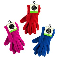 Gloves Ladies Fleece Fashion Colours Asstd