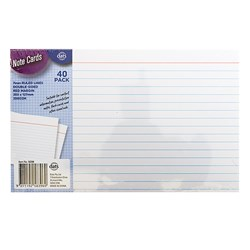 Cards Note Flash Index 200gsm 203x127mm Ruled Margin 40pk