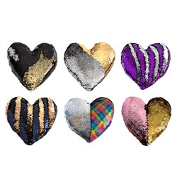 Cushion Sequin Heart 40cm Asstd