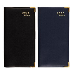 Diary Office PVC Soft Cover w Gold Corners Slim WTV 2 Asstd