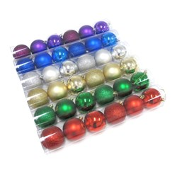 Baubles Xmas Traditional Shiny Matte Gltr 70mm 6pk Asstd PDQ
