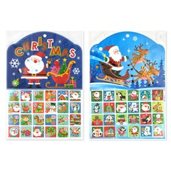 Stickers Advent Holographic Xmas Novelty 2 Asstd