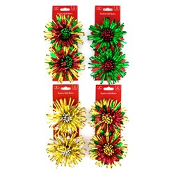 Bow Xmas Fireworks Holographic 12.5cm 2pk