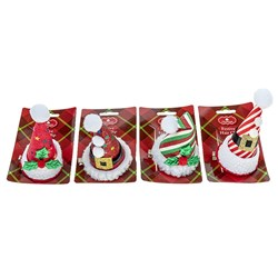 Hair Clip Novelty Xmas w Hats 4 Asstd