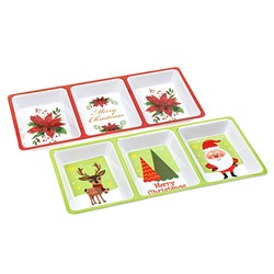 Melamine Tray 3section Rect Xmas 2 Asstd