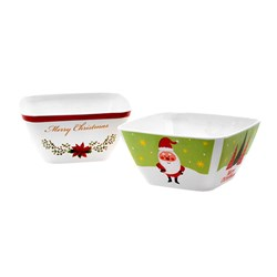 Melamine Bowl Square Small Xmas 2 Asstd